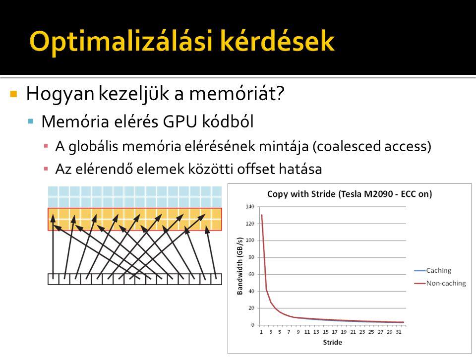  Hogyan kezeljük a memóriát?  Memória elérés GPU kódból ▪ A globális memória elérésének mintája (coalesced access) ▪ Az elérendő elemek közötti offs