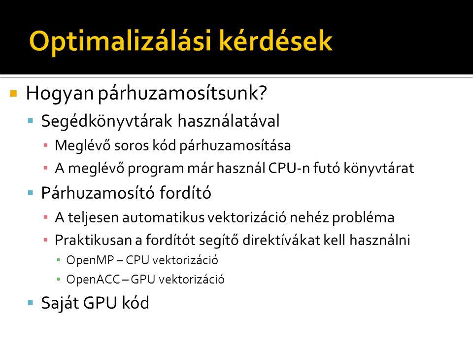  Hogyan párhuzamosítsunk?  Segédkönyvtárak használatával ▪ Meglévő soros kód párhuzamosítása ▪ A meglévő program már használ CPU-n futó könyvtárat 