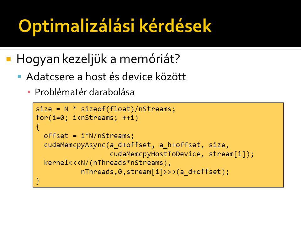  Hogyan kezeljük a memóriát?  Adatcsere a host és device között ▪ Problématér darabolása cudaMemcpyAsync(a_d, a_h, size, cudaMemcpyHostToDevice, 0);