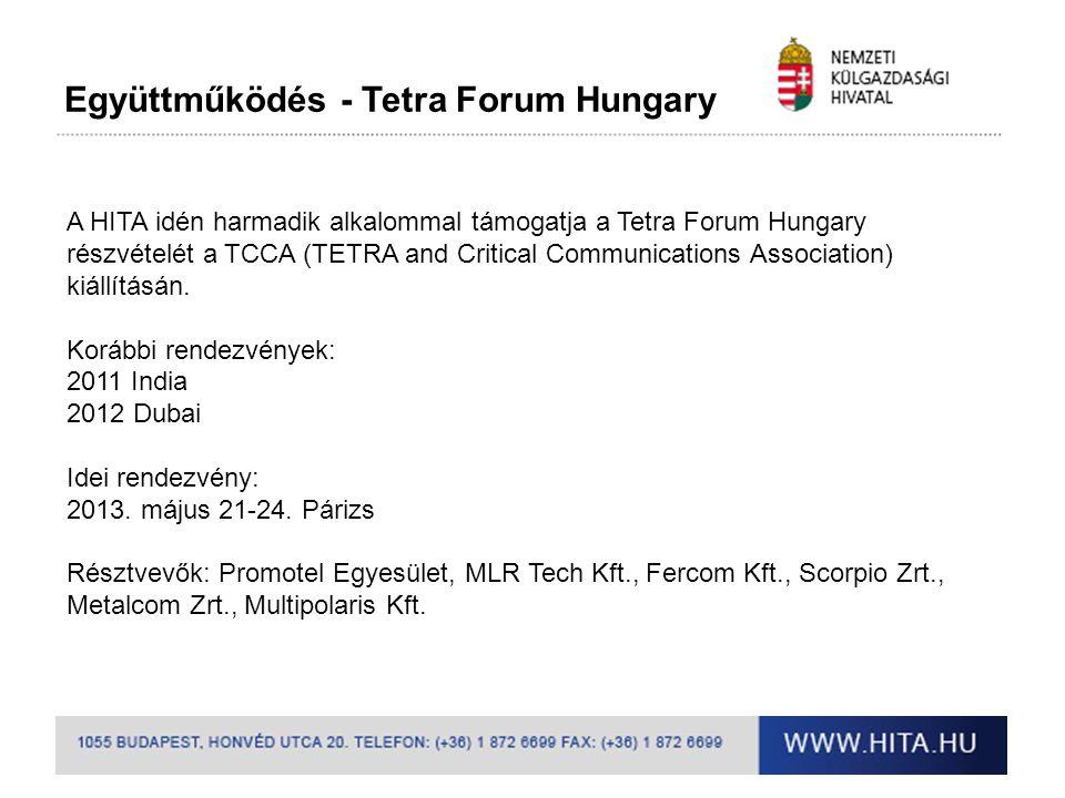 Együttműködés - Tetra Forum Hungary A HITA idén harmadik alkalommal támogatja a Tetra Forum Hungary részvételét a TCCA (TETRA and Critical Communicati