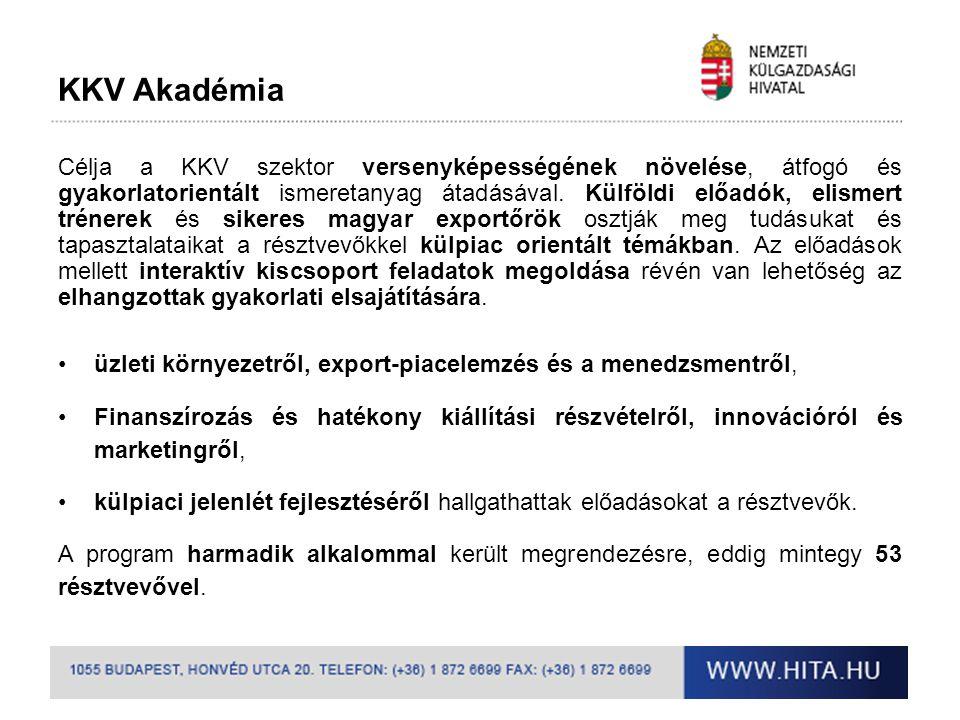 Hungarian Investment Projects •Sikeres együttműködés teremtése a magyar KKV-k illetve a szakértő és pénzügyi befektetők között •A program célja: A szűrési szempontoknak megfelelt projekteknek befektető felkutatása •Befektető felkutatásának elsődleges célpontja a Jeremie program alapkezelői, magyar tőkebefektetőknek, továbbá külföldi befektetők.