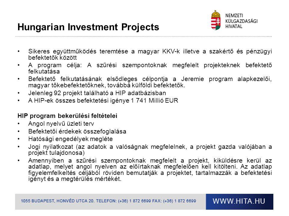 Hungarian Technology Projects A Hivatal elősegíti a magyar technológiákkal rendelkező vállalkozásokat a nemzetközi fejlesztési együttműködési közbeszerzésekben való hatékony részvételre •Világszerte évi 800 Mrd USD értékű piaci potenciál •Tanácsadás nemzetközi tenderlehetőségekről, bekapcsolódási pontok •Konkrét ajánlatadási felhívások, projekt lehetőségek becsatornázása •Nemzetközi projektekkel kapcsolatos finanszírozási tanácsadás, egyéb forrásszerzési lehetőségek (hitellehetőségek, Eximbank, EU, ENSZ, Világbank csoport, stb.) •Privát szektor lehetőségeinek és képességeinek koordinálása •Hazai privát szektor érdekeinek képviselete nemzetközi és hazai fórumokon