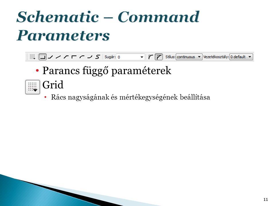 • Parancs függő paraméterek  Grid • Rács nagyságának és mértékegységének beállítása 11