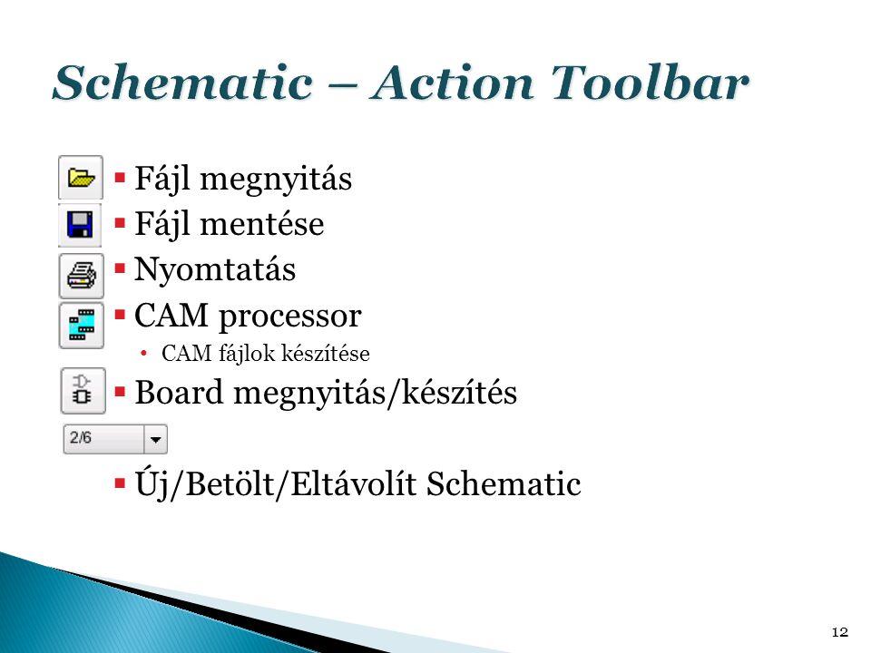  Fájl megnyitás  Fájl mentése  Nyomtatás  CAM processor • CAM fájlok készítése  Board megnyitás/készítés  Új/Betölt/Eltávolít Schematic 12