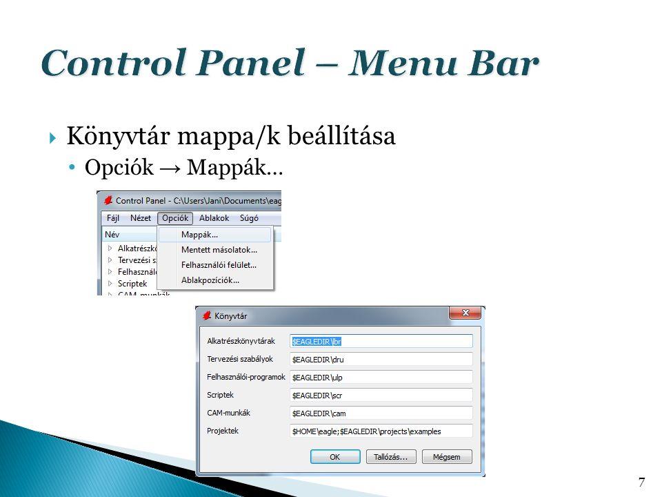  Könyvtár mappa/k beállítása • Opciók → Mappák… 7