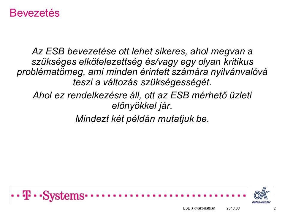 Bevezetés Az ESB bevezetése ott lehet sikeres, ahol megvan a szükséges elkötelezettség és/vagy egy olyan kritikus problématömeg, ami minden érintett számára nyilvánvalóvá teszi a változás szükségességét.