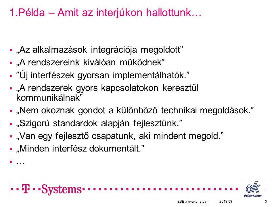 """1.Példa – Amit az interjúkon hallottunk…  """"Az alkalmazások integrációja megoldott  """"A rendszereink kiválóan működnek  Új interfészek gyorsan implementálhatók.  """"A rendszerek gyors kapcsolatokon keresztül kommunikálnak  """"Nem okoznak gondot a különböző technikai megoldások.  """"Szigorú standardok alapján fejlesztünk.  """"Van egy fejlesztő csapatunk, aki mindent megold.  """"Minden interfész dokumentált. …… 32013.03ESB a gyakorlatban"""