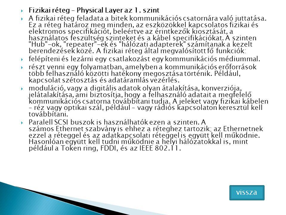  Fizikai réteg – Physical Layer az 1. szint  A fizikai réteg feladata a bitek kommunikációs csatornára való juttatása. Ez a réteg határoz meg minden