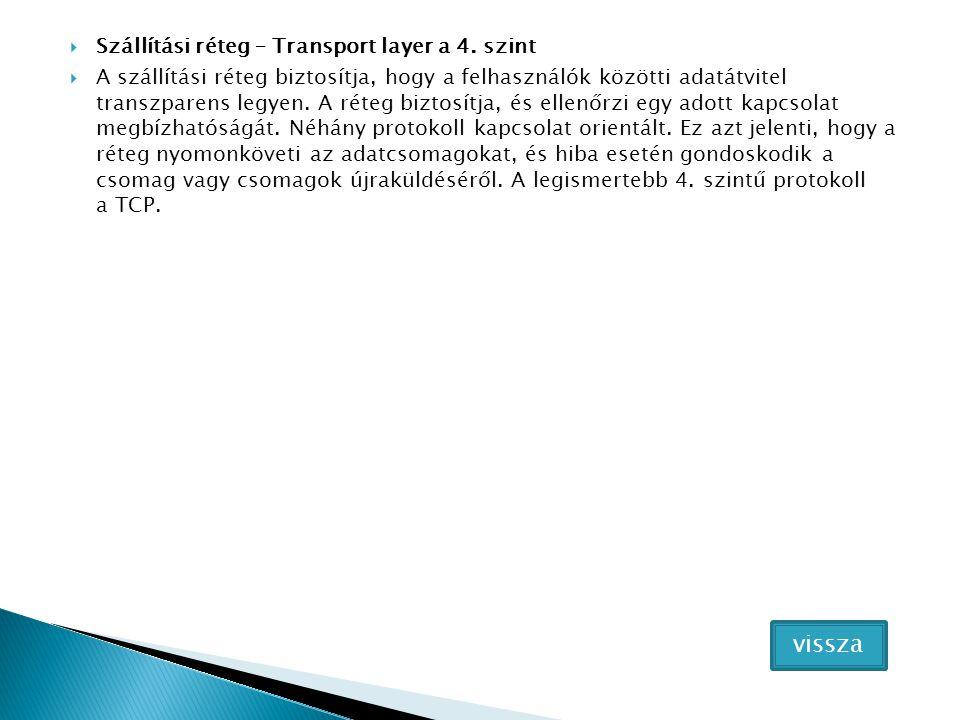  Szállítási réteg – Transport layer a 4. szint  A szállítási réteg biztosítja, hogy a felhasználók közötti adatátvitel transzparens legyen. A réteg