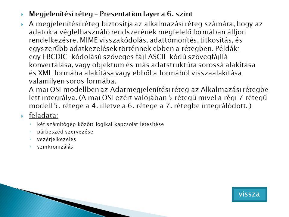  Megjelenítési réteg – Presentation layer a 6. szint  A megjelenítési réteg biztosítja az alkalmazási réteg számára, hogy az adatok a végfelhasználó