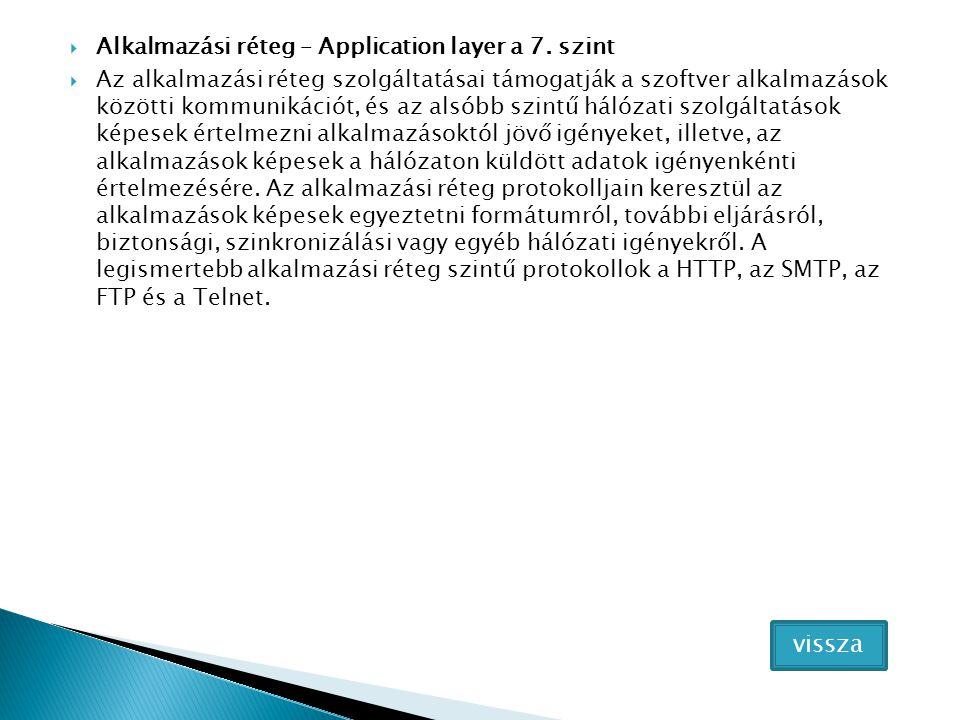  Alkalmazási réteg – Application layer a 7.