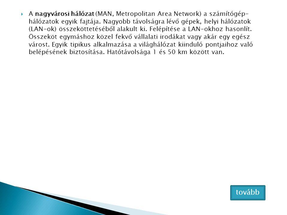  A nagyvárosi hálózat (MAN, Metropolitan Area Network) a számítógép- hálózatok egyik fajtája. Nagyobb távolságra lévő gépek, helyi hálózatok (LAN-ok)