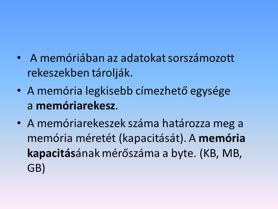 • A memóriában az adatokat sorszámozott rekeszekben tárolják. • A memória legkisebb címezhető egysége a memóriarekesz. • A memóriarekeszek száma határ