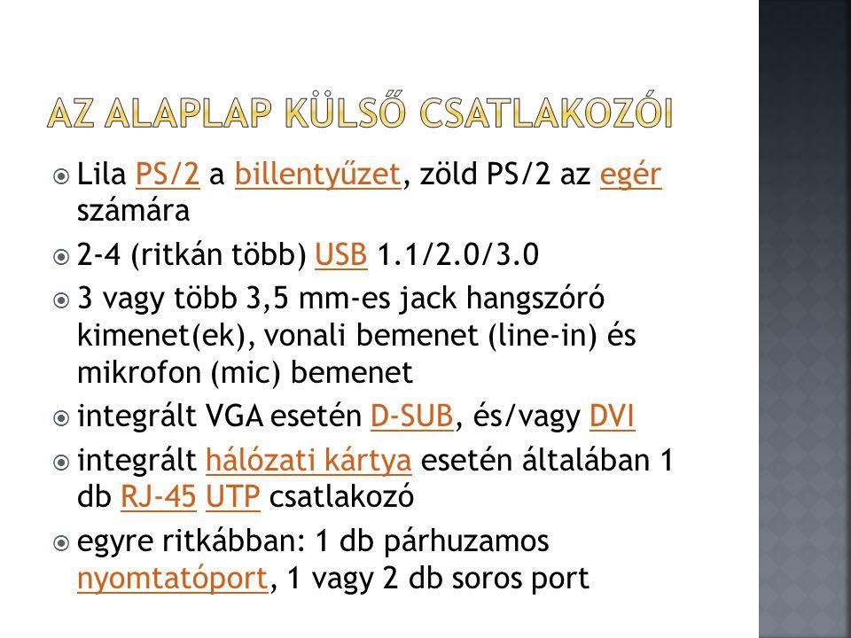  Lila PS/2 a billentyűzet, zöld PS/2 az egér számáraPS/2billentyűzetegér  2-4 (ritkán több) USB 1.1/2.0/3.0USB  3 vagy több 3,5 mm-es jack hangszór