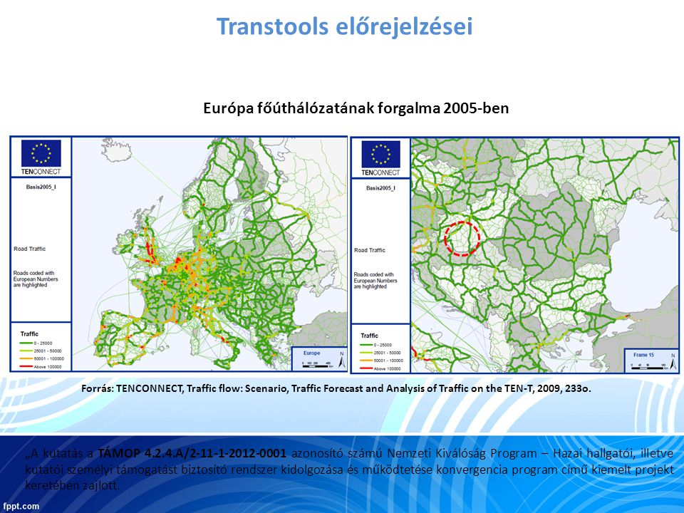 Transtools előrejelzései Forrás: TENCONNECT, Traffic flow: Scenario, Traffic Forecast and Analysis of Traffic on the TEN-T, 2009, 233o.