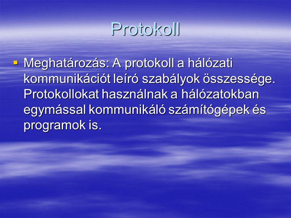 Protokoll  Meghatározás: A protokoll a hálózati kommunikációt leíró szabályok összessége. Protokollokat használnak a hálózatokban egymással kommuniká