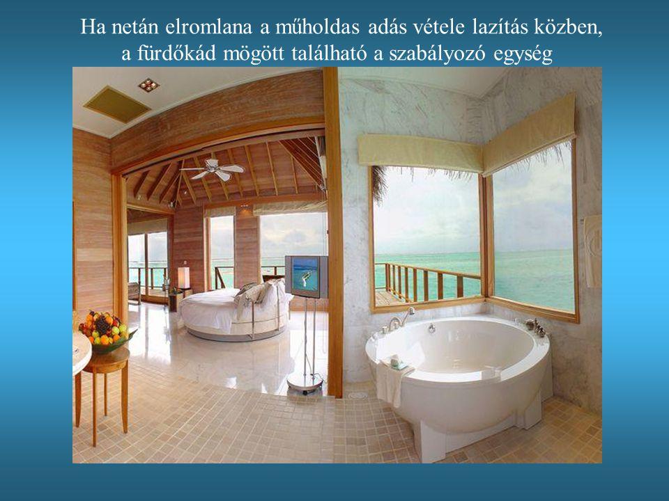 Ha netán elromlana a műholdas adás vétele lazítás közben, a fürdőkád mögött található a szabályozó egység