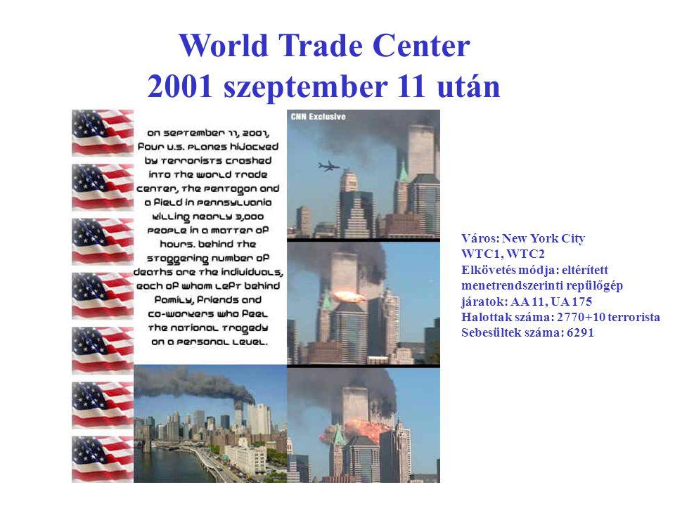 World Trade Center 2001 szeptember 11 után Város: New York City WTC1, WTC2 Elkövetés módja: eltérített menetrendszerinti repülőgép járatok: AA 11, UA 175 Halottak száma: 2770+10 terrorista Sebesültek száma: 6291