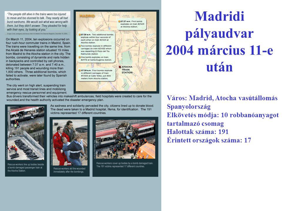Madridi pályaudvar 2004 március 11-e után Város: Madrid, Atocha vasútállomás Spanyolország Elkövetés módja: 10 robbanóanyagot tartalmazó csomag Halottak száma: 191 Érintett országok száma: 17