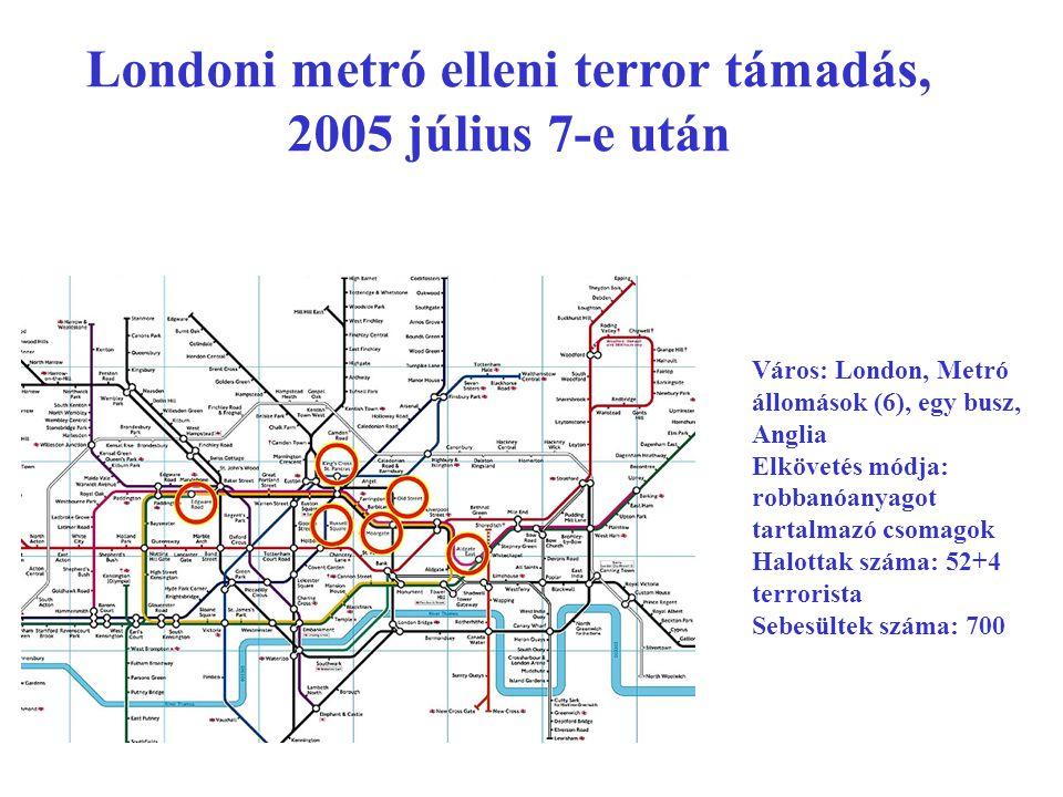 Londoni metró elleni terror támadás, 2005 július 7-e után Város: London, Metró állomások (6), egy busz, Anglia Elkövetés módja: robbanóanyagot tartalmazó csomagok Halottak száma: 52+4 terrorista Sebesültek száma: 700
