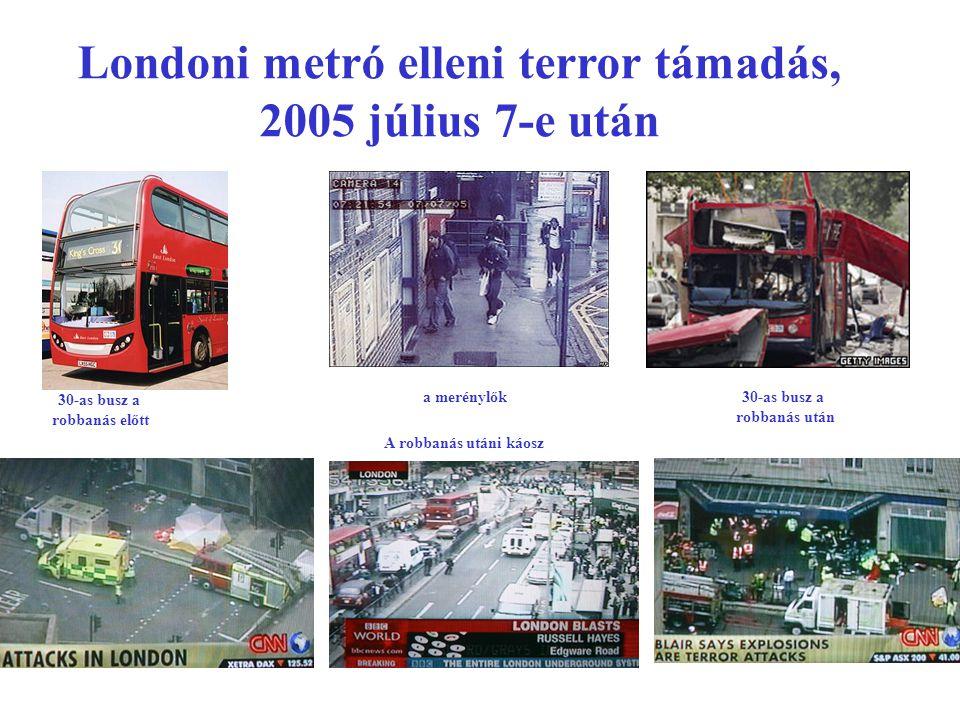 Londoni metró elleni terror támadás, 2005 július 7-e után 30-as busz a robbanás előtt 30-as busz a robbanás után a merénylők A robbanás utáni káosz