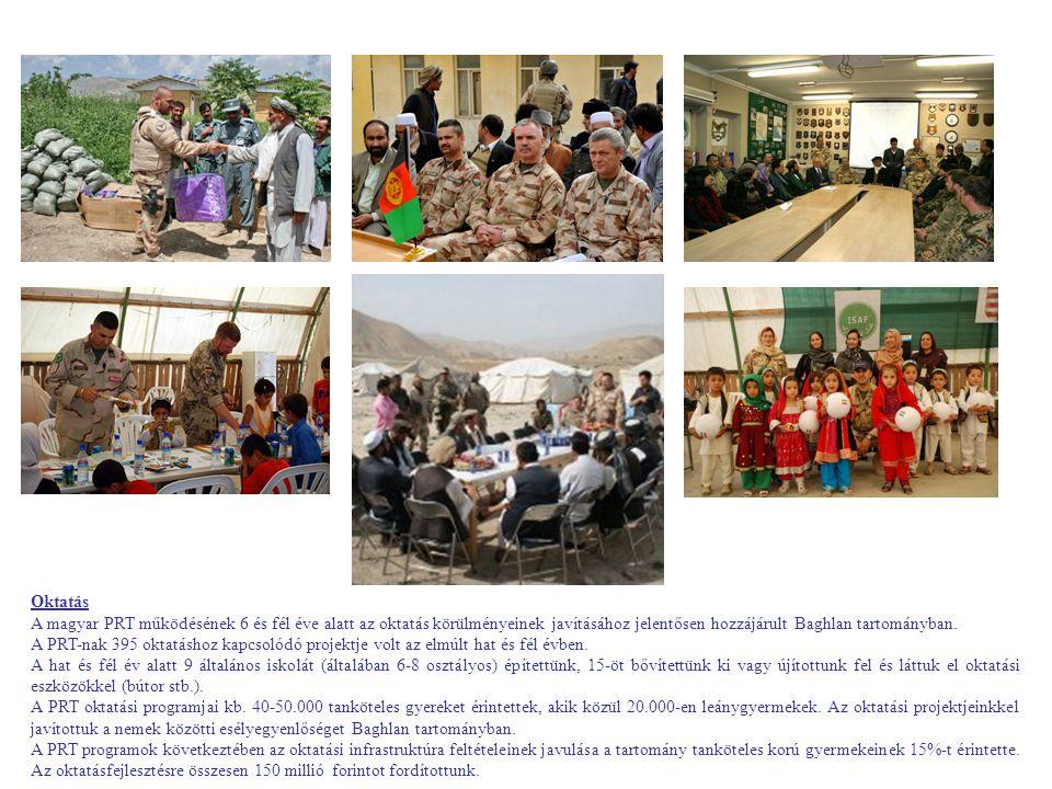 Oktatás A magyar PRT működésének 6 és fél éve alatt az oktatás körülményeinek javításához jelentősen hozzájárult Baghlan tartományban.
