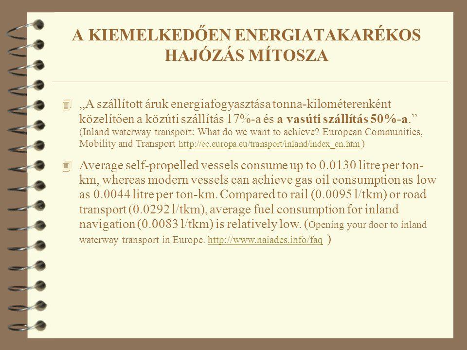 """4 """"A szállított áruk energiafogyasztása tonna-kilométerenként közelítően a közúti szállítás 17%-a és a vasúti szállítás 50%-a."""" (Inland waterway trans"""