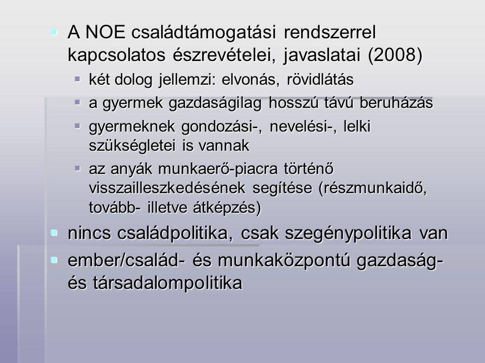  A NOE családtámogatási rendszerrel kapcsolatos észrevételei, javaslatai (2008)  két dolog jellemzi: elvonás, rövidlátás  a gyermek gazdaságilag ho