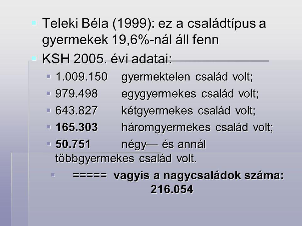  Teleki Béla (1999): ez a családtípus a gyermekek 19,6%-nál áll fenn  KSH 2005. évi adatai:  1.009.150gyermektelen család volt;  979.498egygyermek