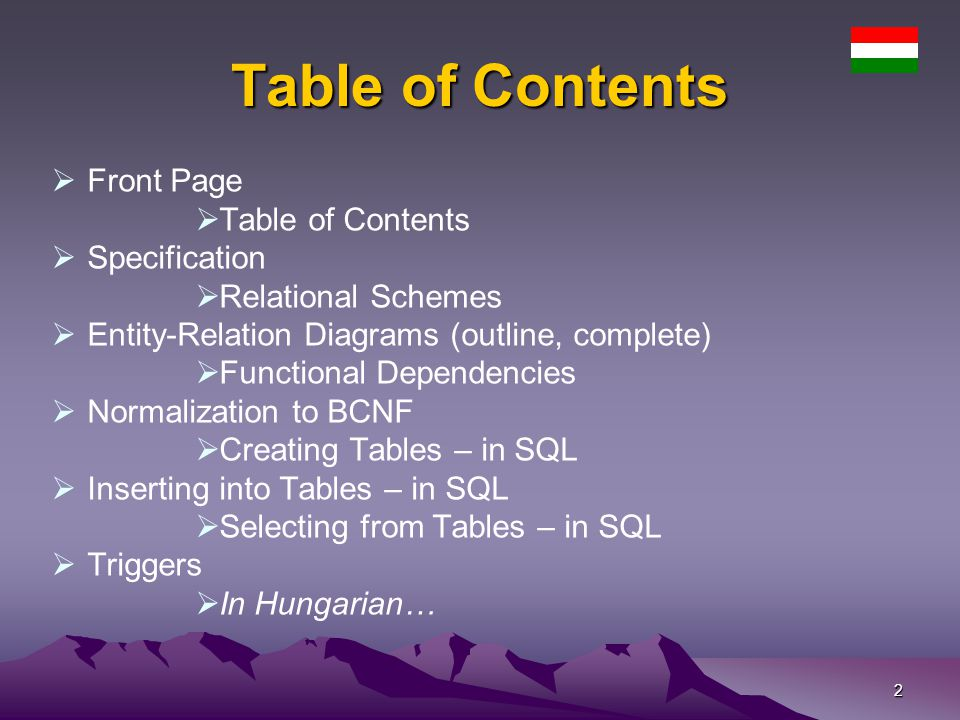 23 Creating Tables – 11 PROMPT - creating GROUP-MEMBER create table GROUPMEMBER ( BIDnumber(5), TAKESPLACE varchar2(20), GROUPNAME varchar2(30), primary key (bid, takesplace, groupname), foreign key (bid) references szentjanosbogar(bid), foreign key (groupname, takesplace) references grop( groupname, takesplace) ); PROMPT - creating ROOM-IN create table ROOMIN ( TAKESPLACEvarchar2(20) not null references senior(takesplace), ROOMNOnumber(3) primary key references room(roomno) ); PROMPT - creating SLEEP-IN create table SLEEPIN ( BIDnumber(5) primary key references szentjanosbogar(bid), ROOMNOnumber(3) not null references room(roomno) );
