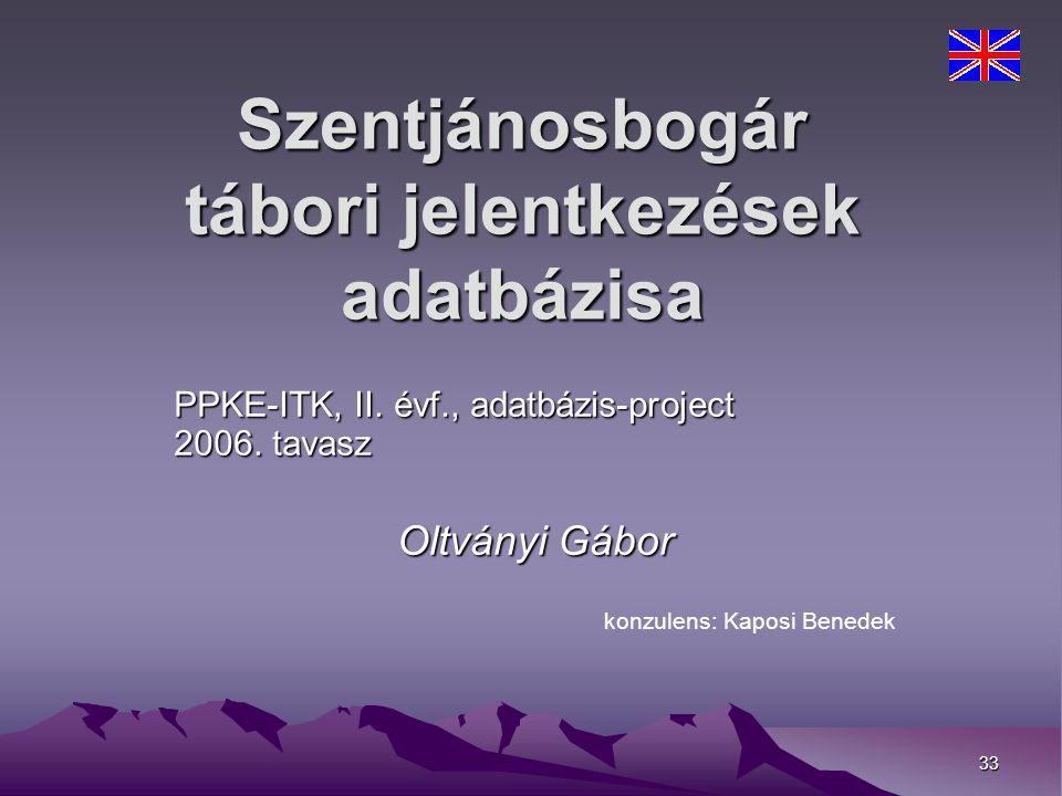 33 Szentjánosbogár tábori jelentkezések adatbázisa PPKE-ITK, II.