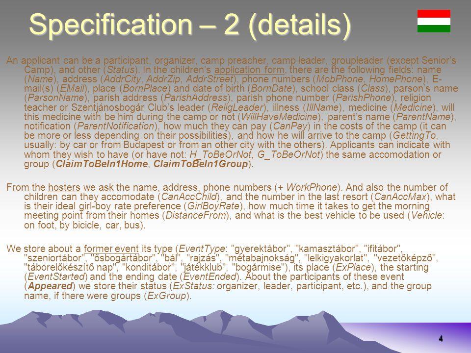35 Specifikáció – 2 (részletek) ClaimToBeIn1HomeClaimToBeIn1Group ClaimToHave1Leader Egy jelentkező lehet résztvevő, szervező, tábori pap, szeniortáboron kívül csoportvezető, táborvezető és egyéb más posztú is (Status).