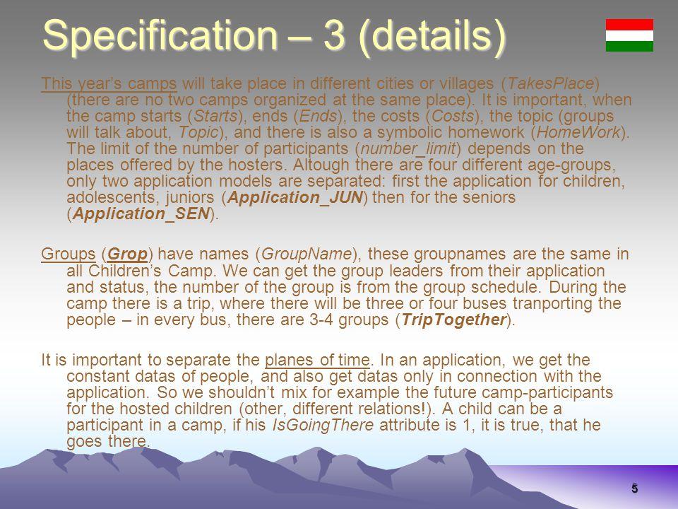 36 Specifikáció – 3 (részletek) Appeared Egy korábbi eseményről a típusát (EventType: gyerektábor, kamasztábor, ifitábor, szeniortábor, ősbogártábor, bál, rajzás, métabajnokság, lelkigyakorlat, vezetőképző, táborelőkészítő nap, konditábor, játékklub, bogármise), helyszínét (ExPlace), kezdetét (EventStarted) és végét (EventEnded) tároljuk, az egyes megjelenteknél (Appeared) azt is, hogy milyen státuszban (ExStatus: szevező, főbogár, résztvevő, stb.), ill.