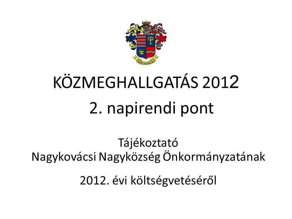 KÖZMEGHALLGATÁS 201 2 Tájékoztató Nagykovácsi Nagyközség Önkormányzatának 2012.