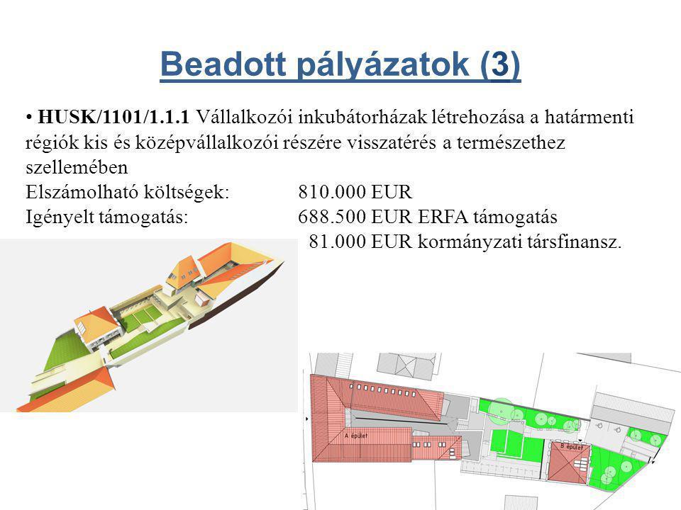 • HUSK/1101/1.1.1 Vállalkozói inkubátorházak létrehozása a határmenti régiók kis és középvállalkozói részére visszatérés a természethez szellemében Elszámolható költségek:810.000 EUR Igényelt támogatás: 688.500 EUR ERFA támogatás 81.000 EUR kormányzati társfinansz.