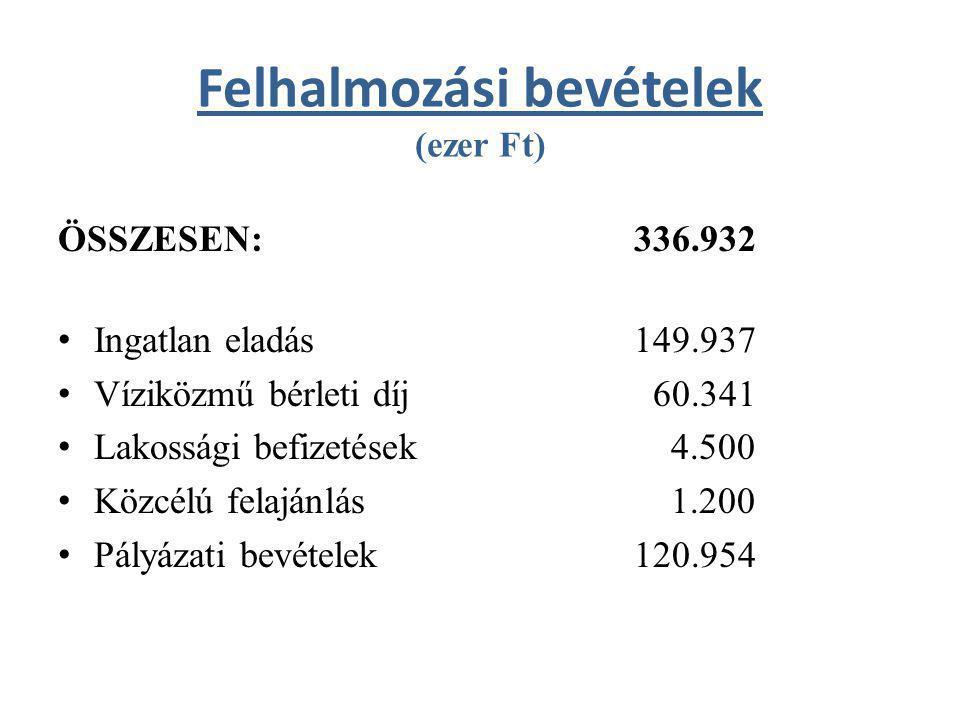 Önkormányzat kiadásai (ezer Ft) KIADÁSOK ÖSSZESEN: 550.182 (önkormányzati támogatásnyújtás nélkül) – Működési kiadások: 184.044 – Felhalmozási kiadások: 366.138