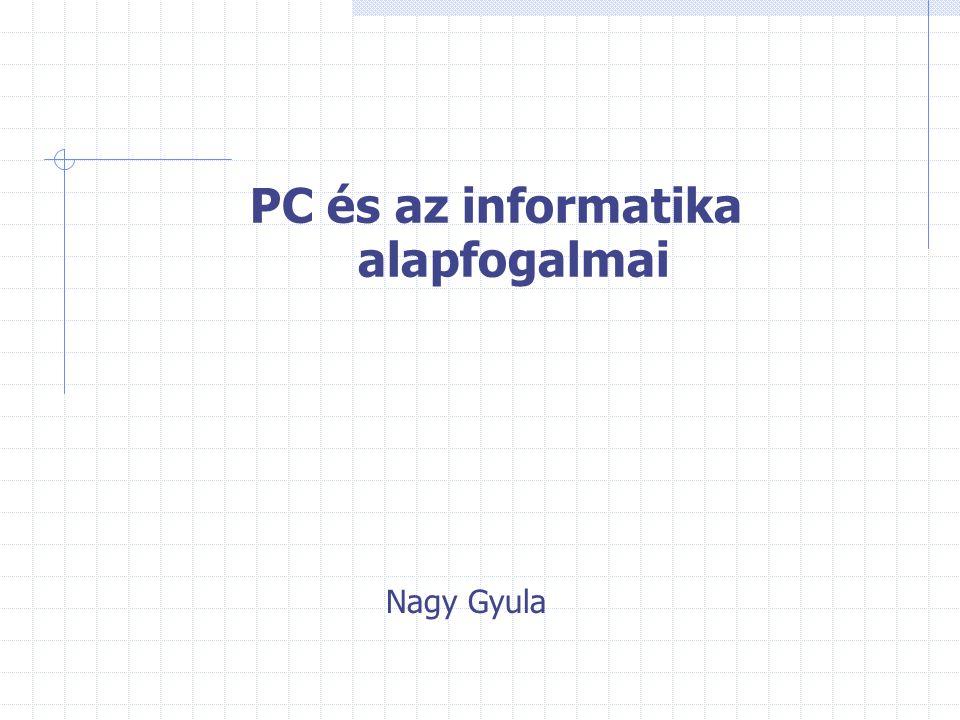 PC és az informatika alapfogalmai Nagy Gyula
