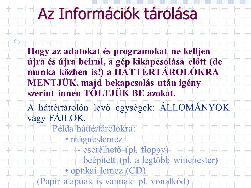Az Információk tárolása Az információkat (adatokat és programokat vagy szoftvereket) a MEMÓRIA tárolja HASZNÁLATUK KÖZBEN. A számítógép tárolóegységén