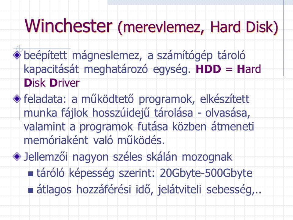 Portok Soros: egér, külső modem, Párhuzamos: gyorsabb adatátvitelt nyújt, mint a soros port. Nyomtató, szkenner, plotter csatlakoztatható hozzá. USB: