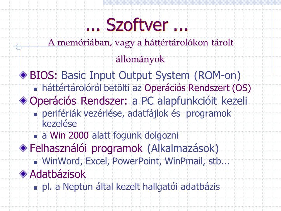 Szoftver: azon szellemi termékek összessége, mellyel egy adott számítógépet működtetni lehet. Programok, hozzájuk tartozó adatok, leírások.
