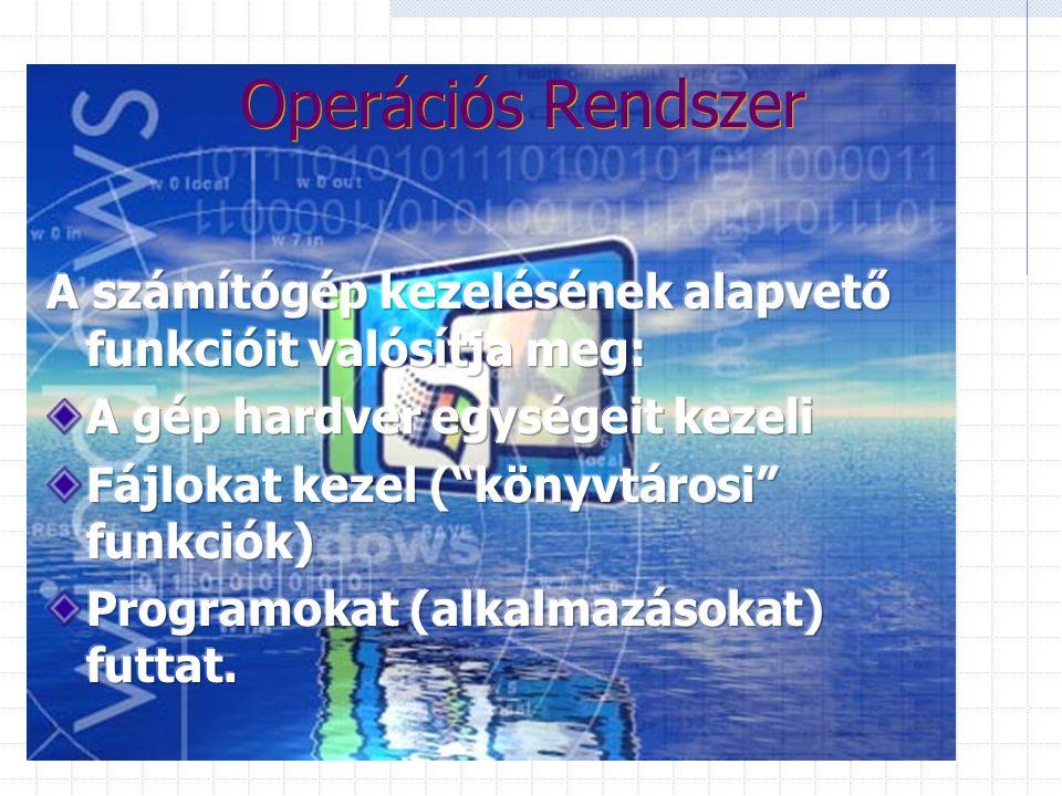... Szoftver... BIOS: Basic Input Output System (ROM-on)  háttértárolóról betölti az Operációs Rendszert (OS) Operációs Rendszer: a PC alapfunkcióit