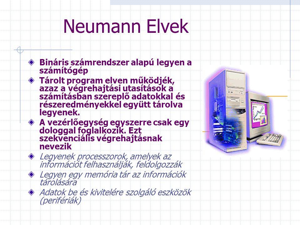 Neumann Elvek Bináris számrendszer alapú legyen a számítógép Tárolt program elven működjék, azaz a végrehajtási utasítások a számításban szereplő adatokkal és részeredményekkel együtt tárolva legyenek.