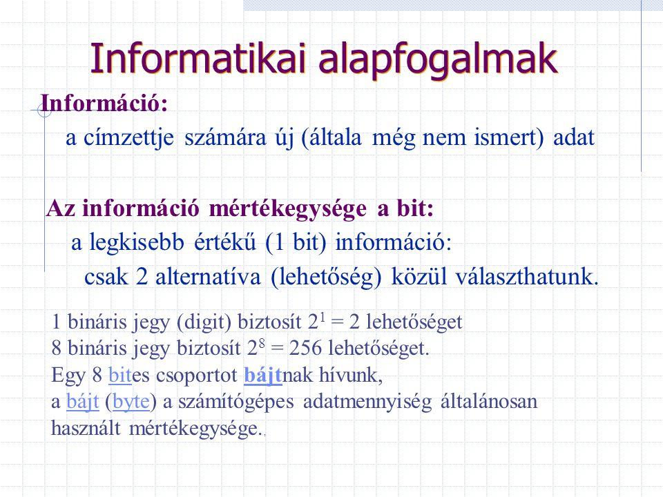 Informatikai alapfogalmak Információ: a címzettje számára új (általa még nem ismert) adat Az információ mértékegysége a bit: a legkisebb érték ű (1 bit) információ: csak 2 alternatíva (lehet ő ség) közül választhatunk.