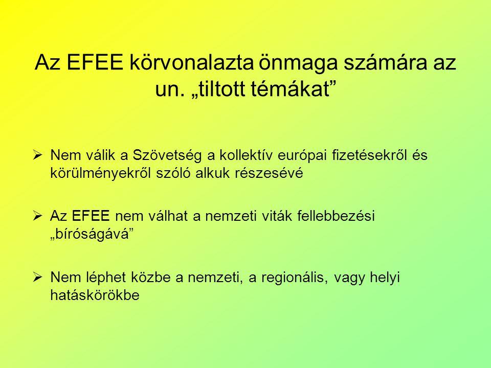 """Az EFEE körvonalazta önmaga számára az un. """"tiltott témákat""""  Nem válik a Szövetség a kollektív európai fizetésekről és körülményekről szóló alkuk ré"""
