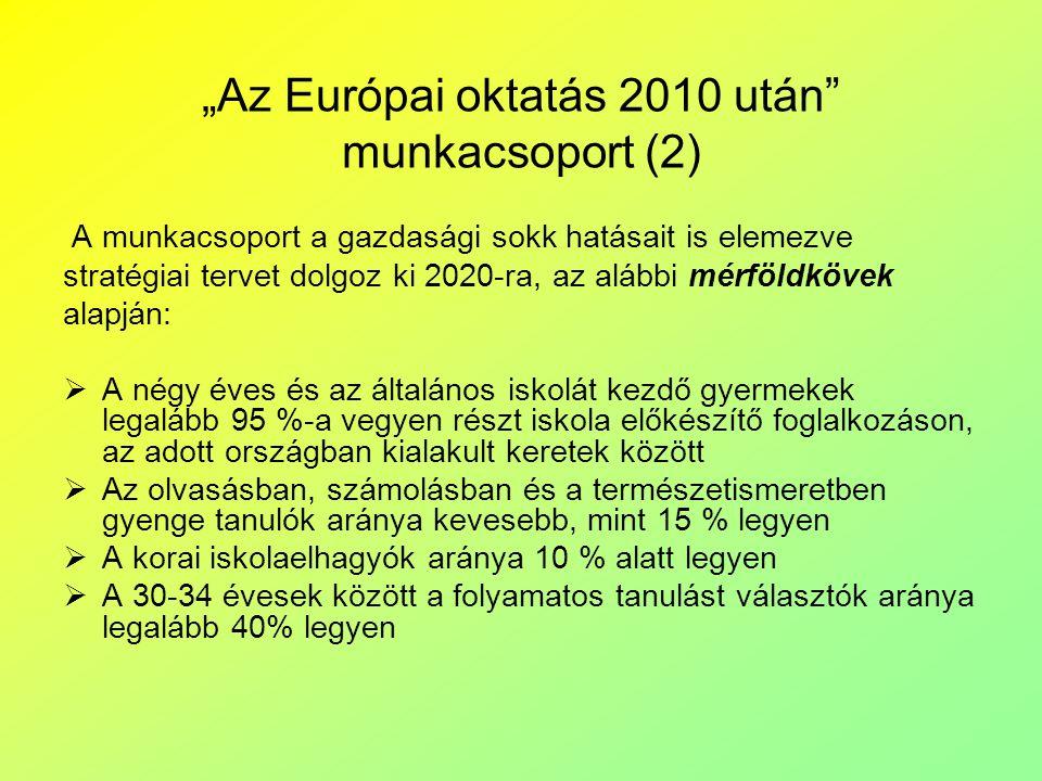 """""""Az Európai oktatás 2010 után"""" munkacsoport (2) A munkacsoport a gazdasági sokk hatásait is elemezve stratégiai tervet dolgoz ki 2020-ra, az alábbi mé"""
