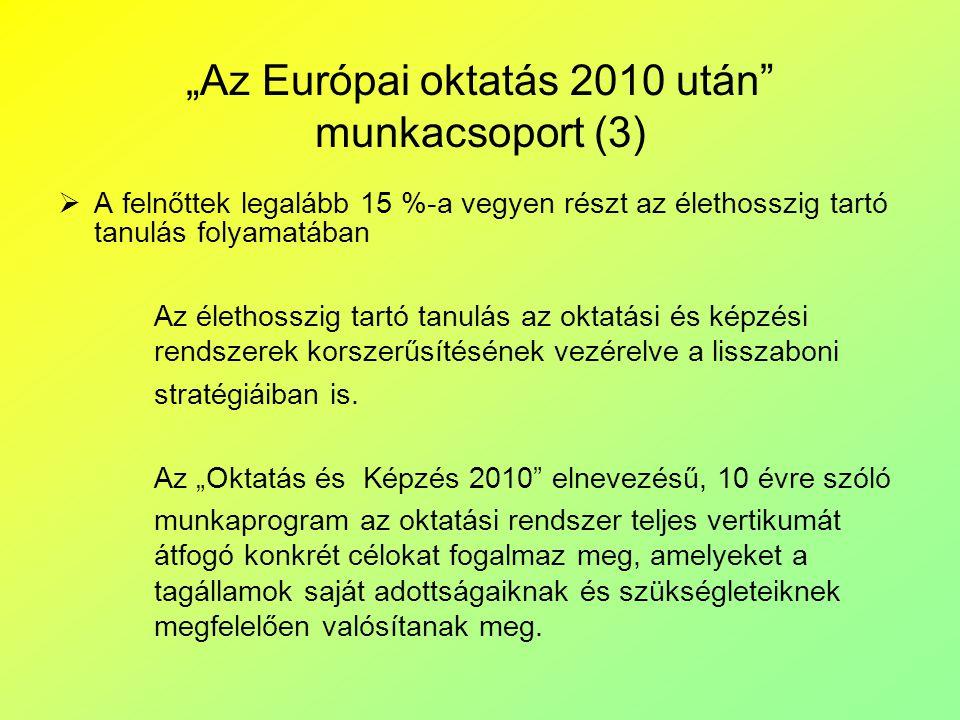 """""""Az Európai oktatás 2010 után"""" munkacsoport (3)  A felnőttek legalább 15 %-a vegyen részt az élethosszig tartó tanulás folyamatában Az élethosszig ta"""