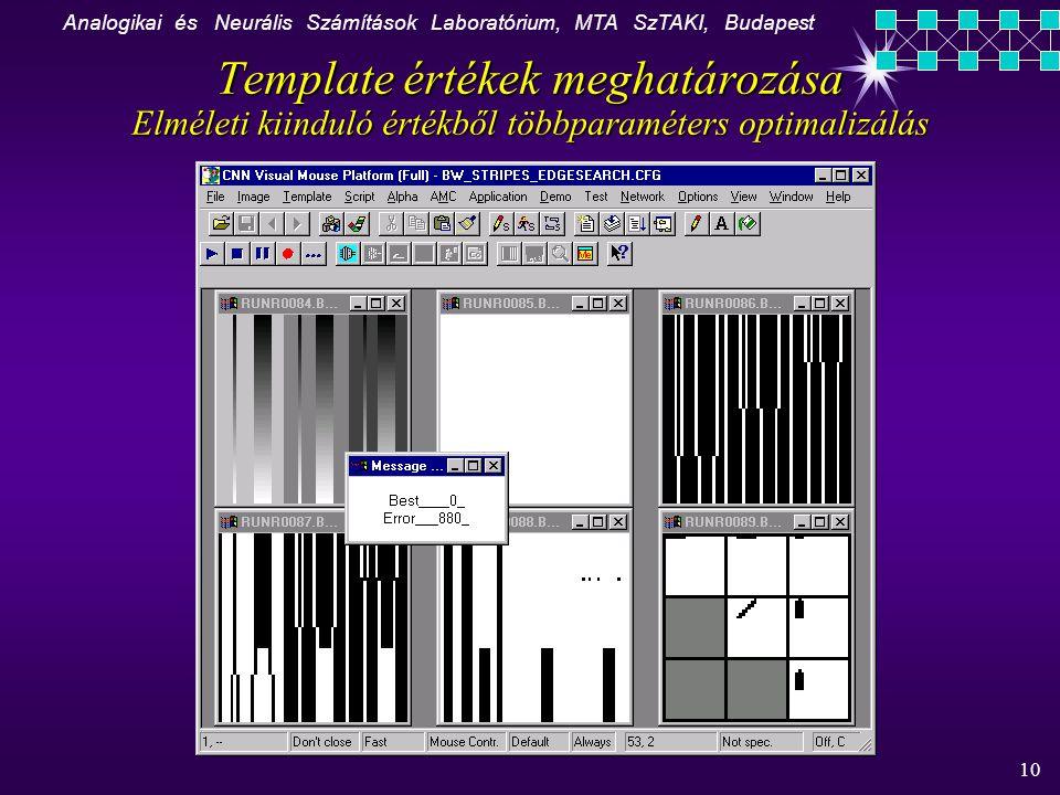 Analogikai és Neurális Számítások Laboratórium, MTA SzTAKI, Budapest 10 Template értékek meghatározása Elméleti kiinduló értékből többparaméters optimalizálás K