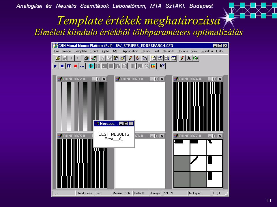 Analogikai és Neurális Számítások Laboratórium, MTA SzTAKI, Budapest 11 K Template értékek meghatározása Elméleti kiinduló értékből többparaméters optimalizálás