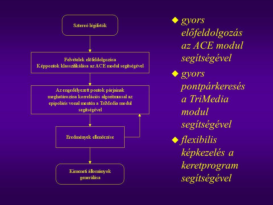 u gyors előfeldolgozás az ACE modul segítségével u gyors pontpárkeresés a TriMedia modul segítségével u flexibilis képkezelés a keretprogram segítségé