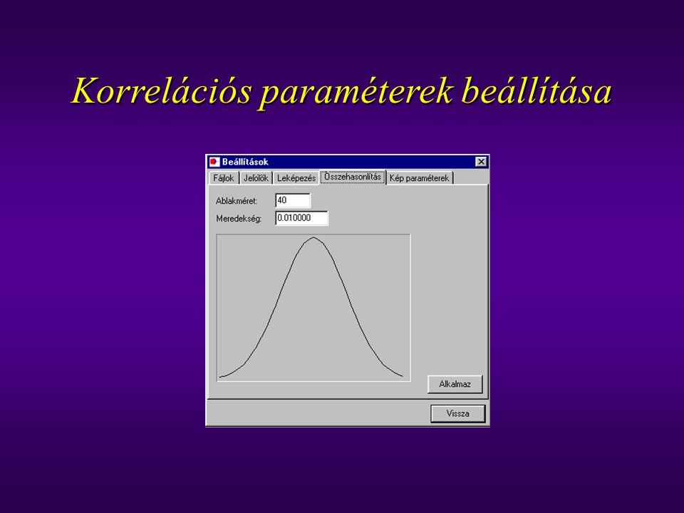 Korrelációs paraméterek beállítása